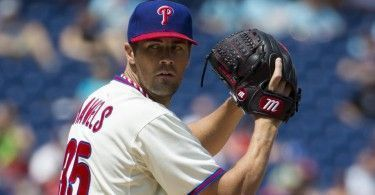 Philadelphia Phillies starting pitcher Cole Hamels pitches during the fourth inning of a baseball game against the San Francisco Giants, Thursday, July 24, 2014, in Philadelphia. The Phillies won 2-1. (AP Photo/Chris Szagola)